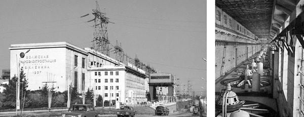 Fachada e interior de la sala de máquinas de la Hidroeléctrica V. I. Lenin