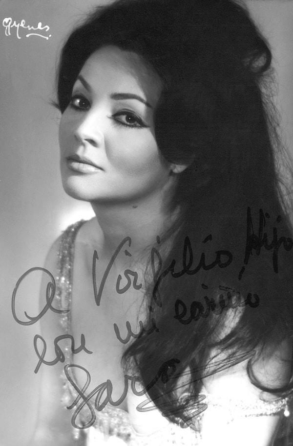 Sara Montiel escribió - A Virgilio Llanos hijo, con mi cariño