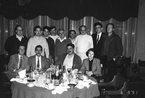 Leningrado. El autor con un grupo de montadores y dirigentes de la empresa Chupa Chups, entre ellos los directores Miguel Otero, Manuel Orriols y Juan Llabaría